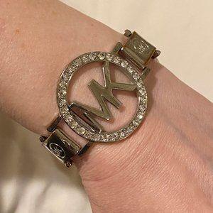 MICHAEL KORS Crystal Logo RARE Silver Cuff Signed